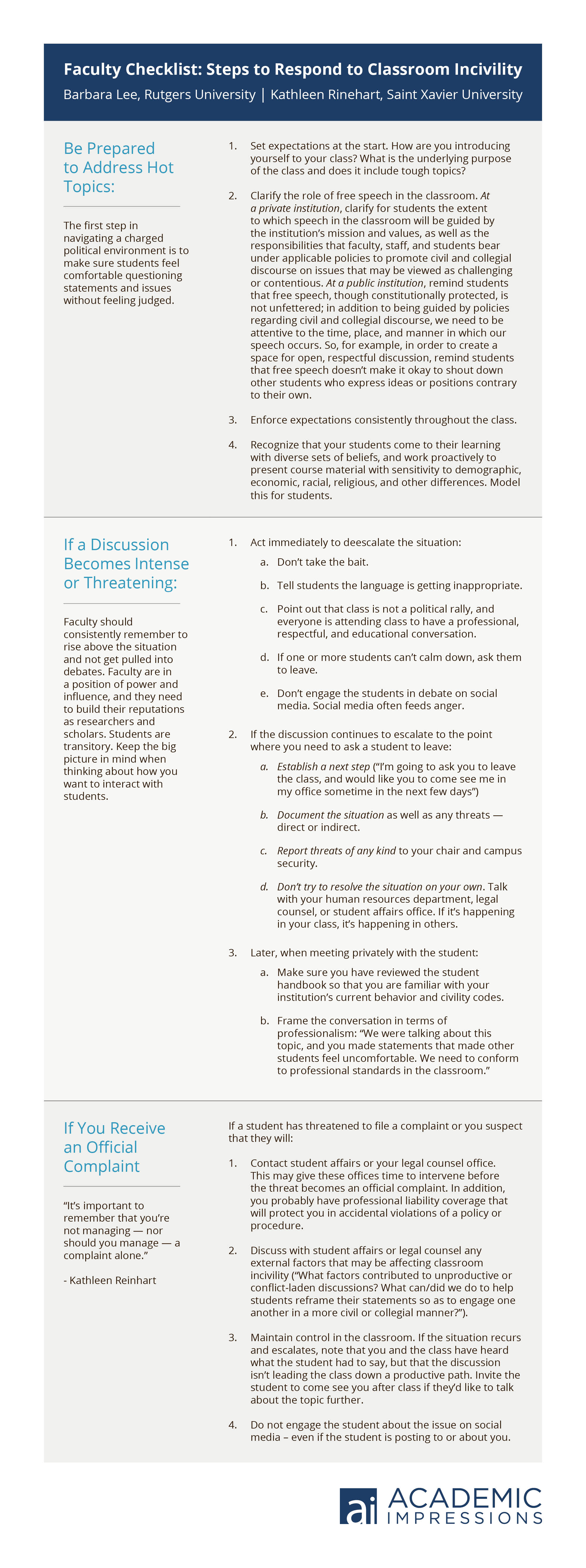 Checklist: Steps to Respond to Classroom Incivility
