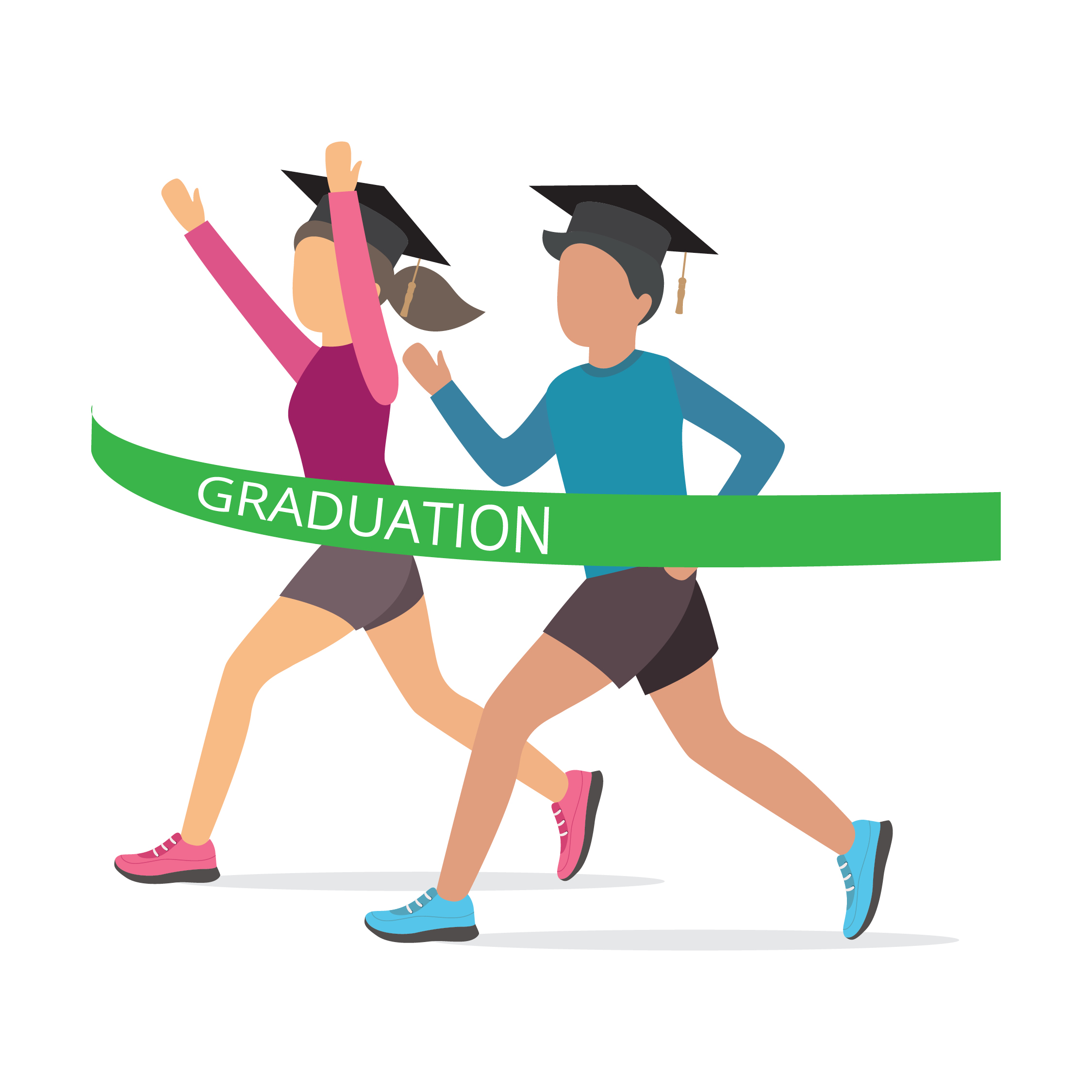 Image of two students, one male, one female, crossing the finish line ribbon of college graduation.