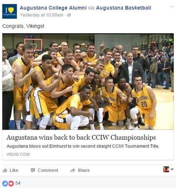 Augustana College Alumni Facebook post example