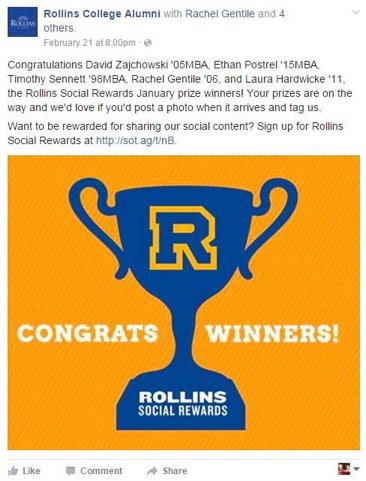 Rollins College Alumni Facebook post example