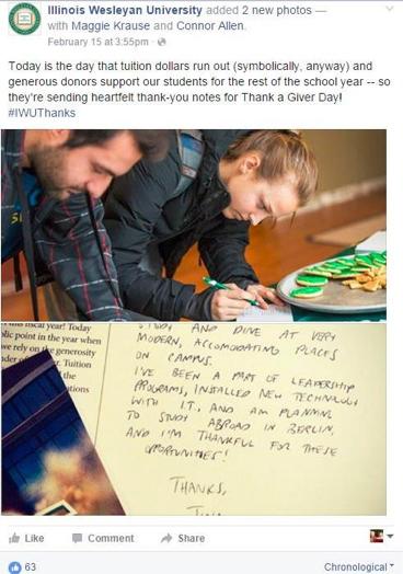 Illinois Wesleyan Facebook post example