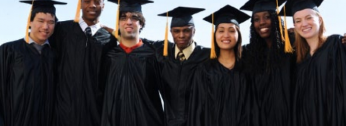 Students in Graduation gowns and caps