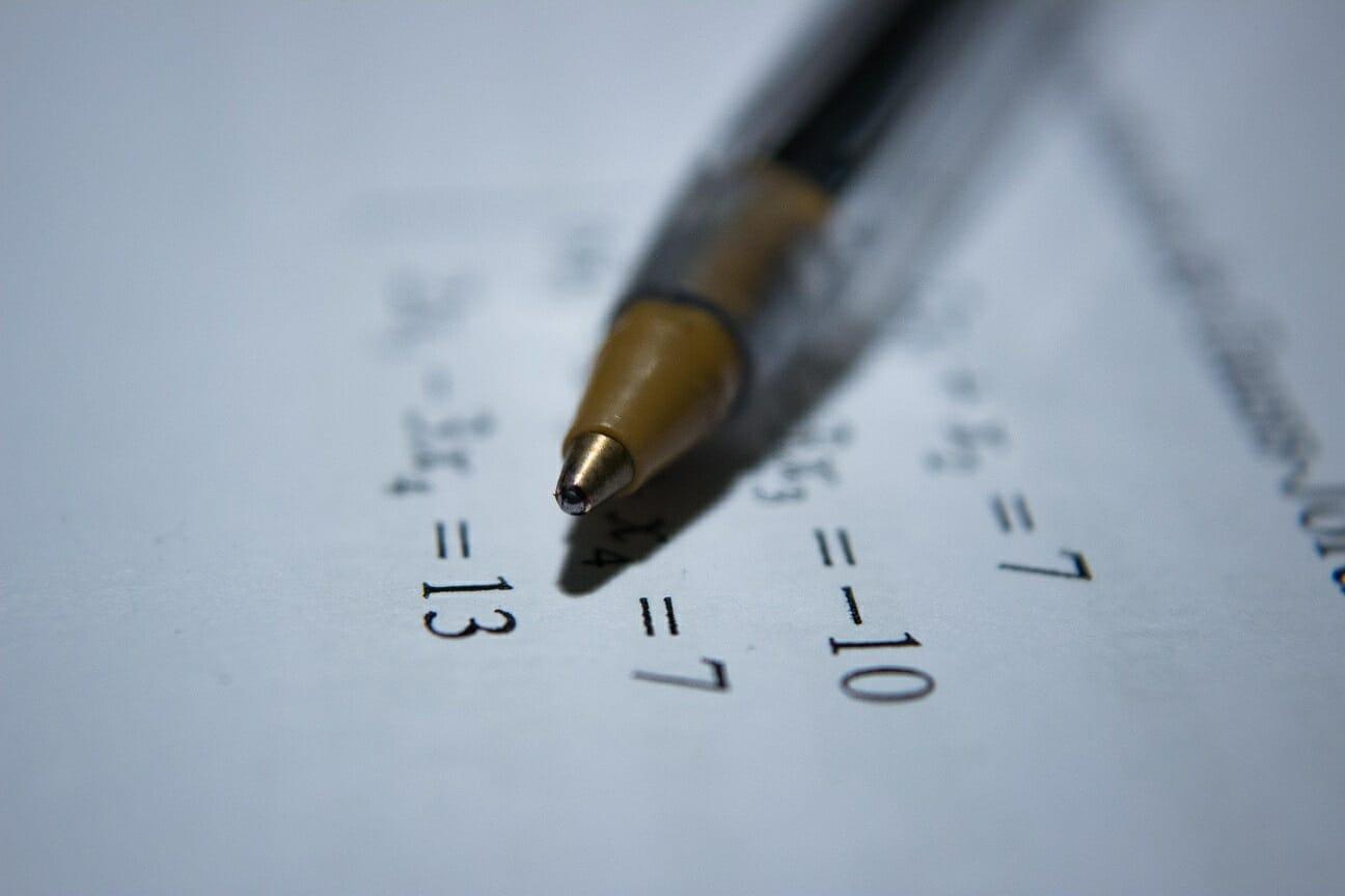 An image of math homework