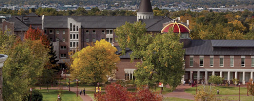 university campus in the summer
