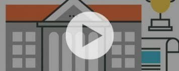 illustration of a campus building, academics, sports, and graduation with a play button overlay