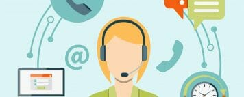 illustration of a woman with a headset participating in a webcast
