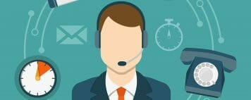 illustration of a man with a headset calling in for a webcast