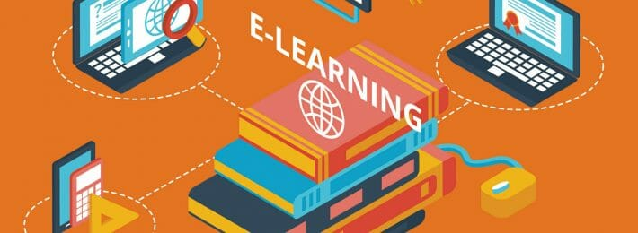 illustration of online learning with computers and textbooks