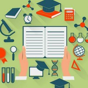 illustration of a campus building, academics, sports, and graduation