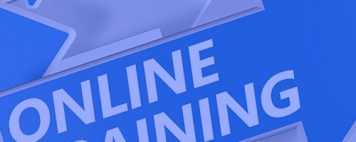 blue and white arrows and text reads: online training