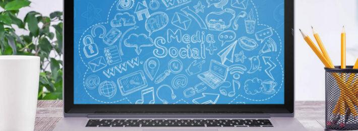 social media drawings on a laptop screen