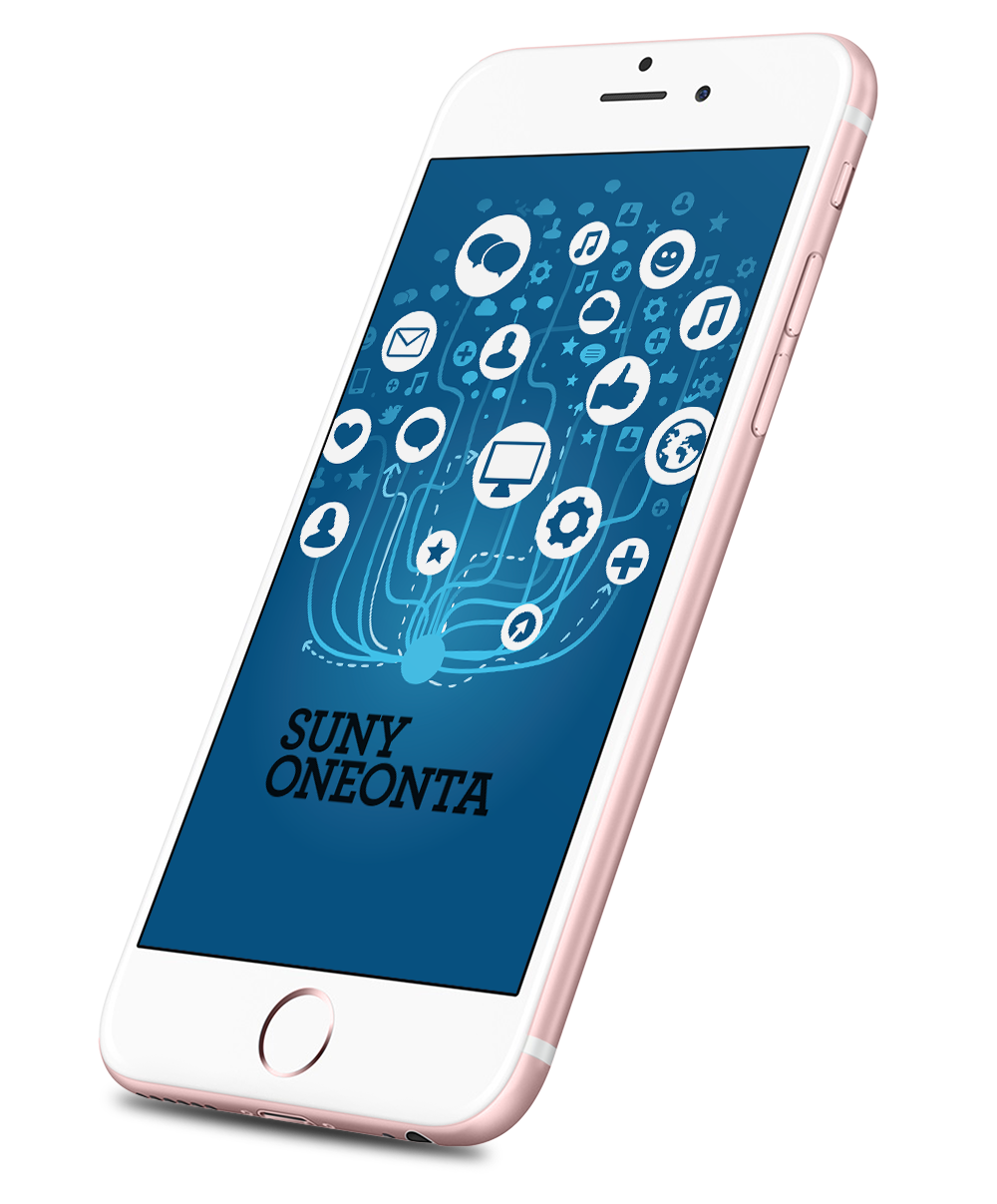 Suny Oneonta logo with digital learning icons on an iPhone