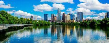 University in Austin, Texas, seen across the water