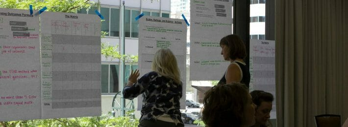 Individuals with flipcharts planning a project