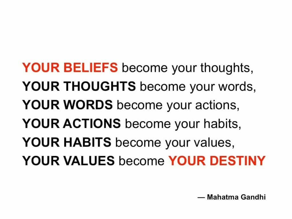 "Mahatma Gandhi Quote: ""Your beliefs become your thoughts..."""