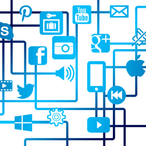 social icons and global connection illustration