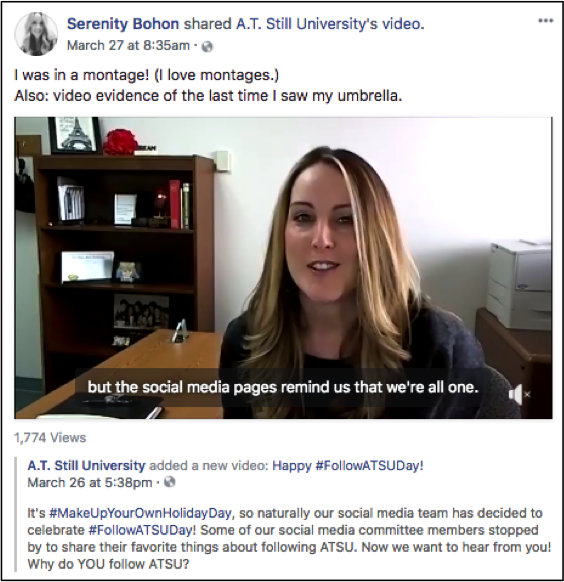 Social Strategy: Example of Social Media Committee Members Sharing ATSU Posts