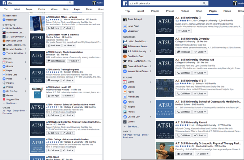 Before a social strategy: Searches for ATSU on Facebook