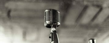 retro microphone in black and white