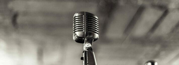 retro microphone in black and white