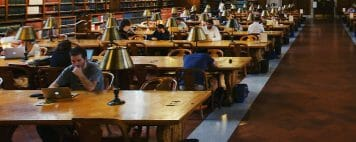 Students at an academic library