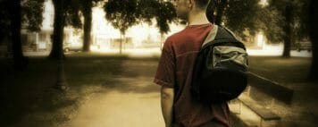 Student with backpack