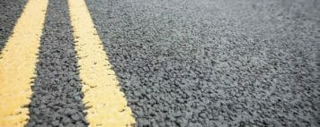 Yellow double lines in road