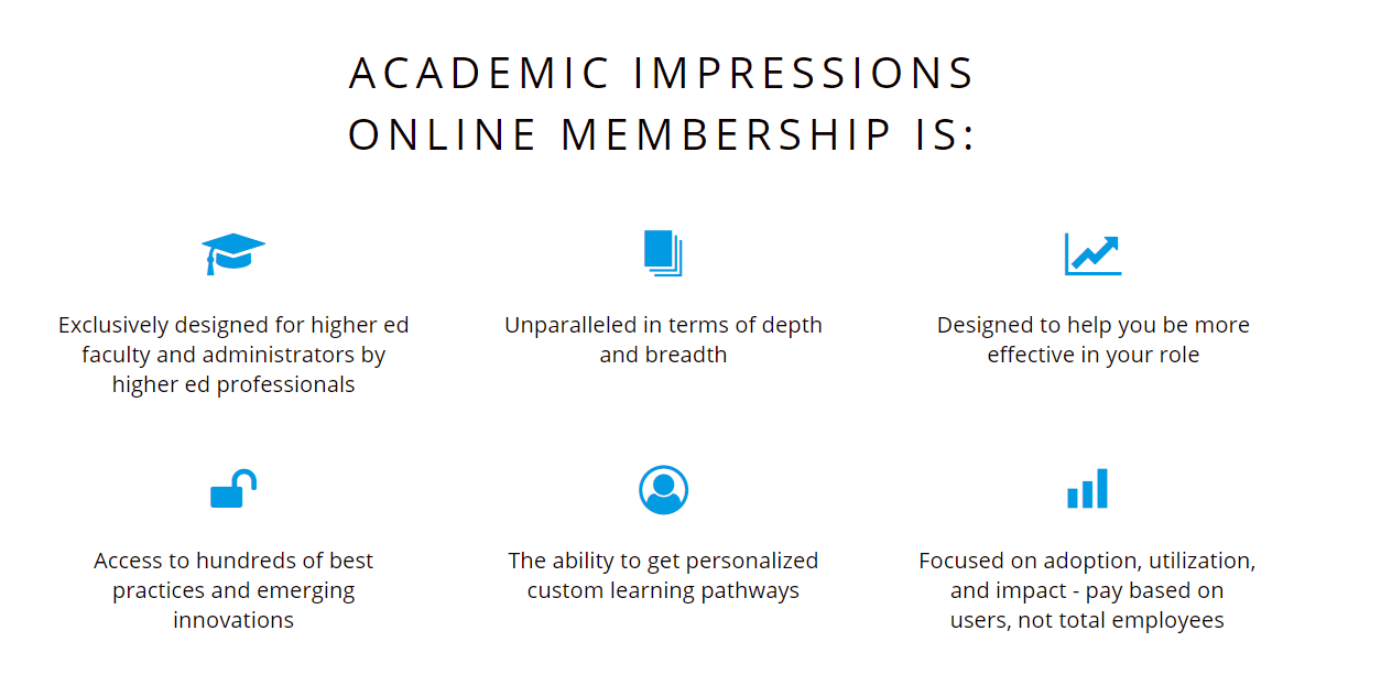 Professional Development in Higher Education - What an Academic Impression Membership Provides