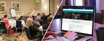 Split image of conference attendees and someone working on their laptop