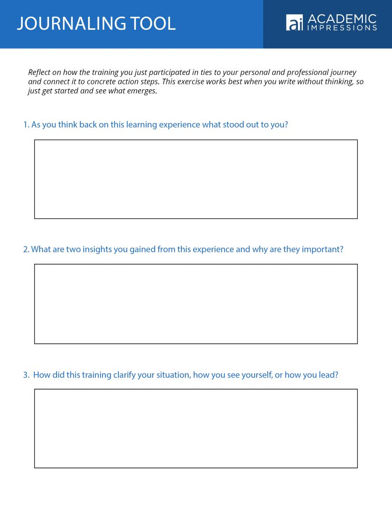 "Professional Development in Higher Education: ""Journaling Tool"" Worksheet"