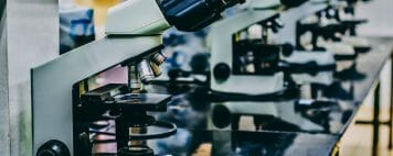 Image of microscopes in an academic lab