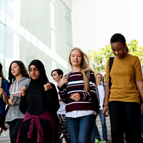 Image of a diverse group of students walking