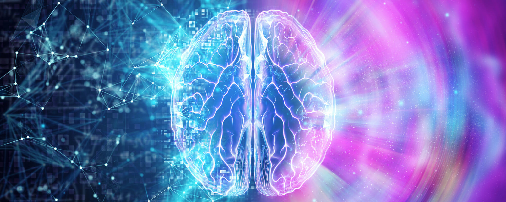 Vector image of brain showing data being processed