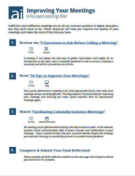 Improving Your Meetings