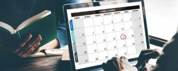 planning calendar on a laptop