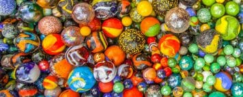 Different colored and sized marbles