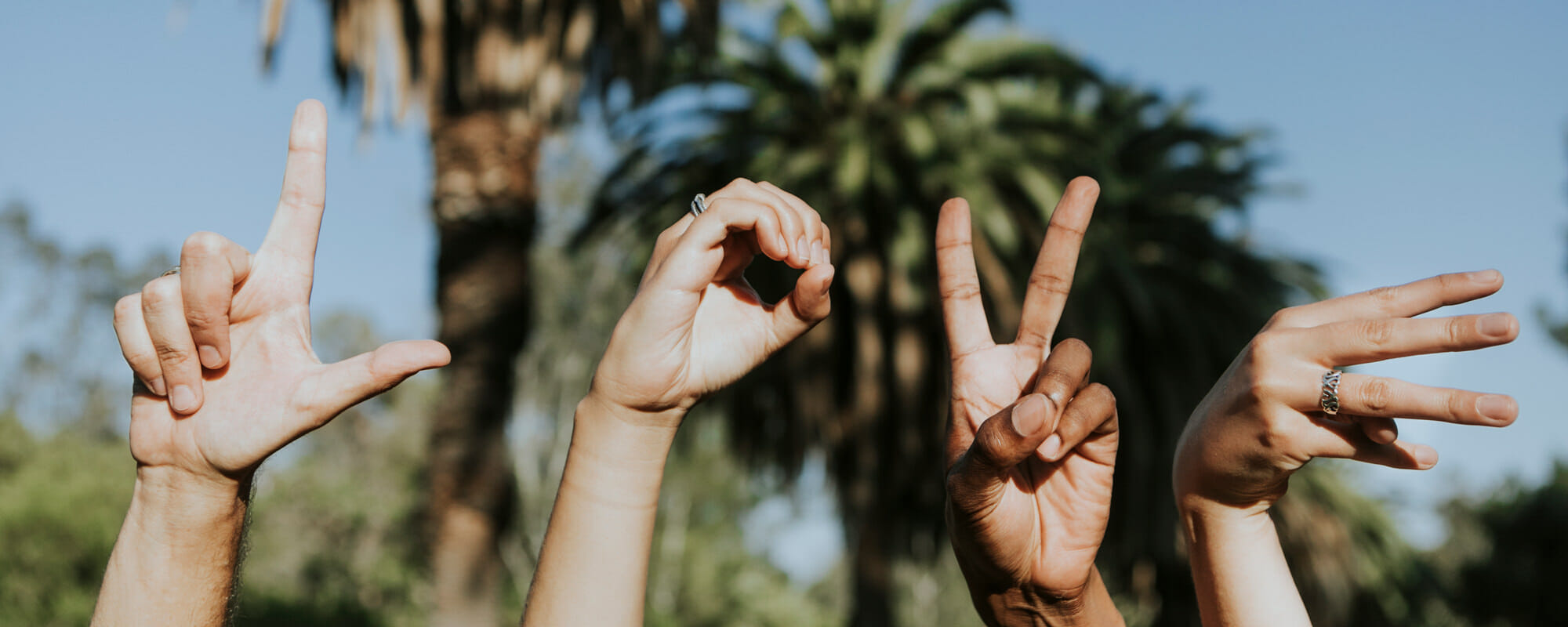 Love spelled out with hands