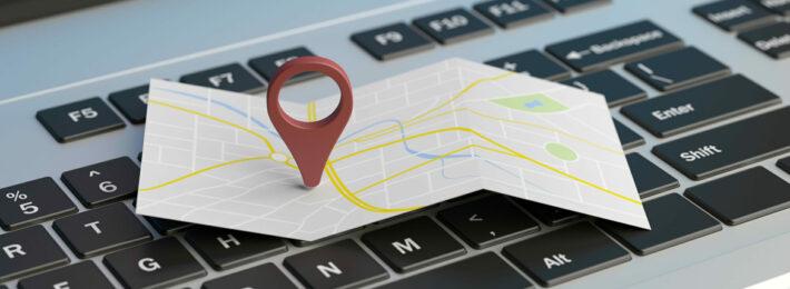 Map on a laptop keyboard