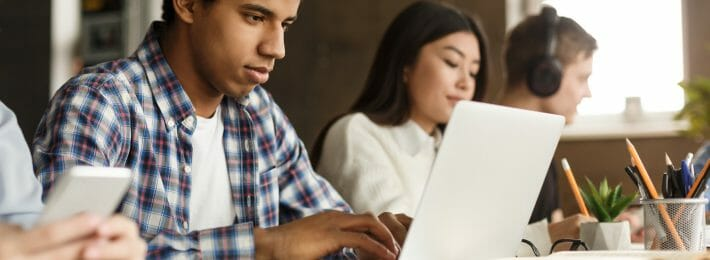 College students studying online