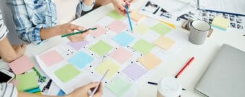 Mapping out project using sticky notes